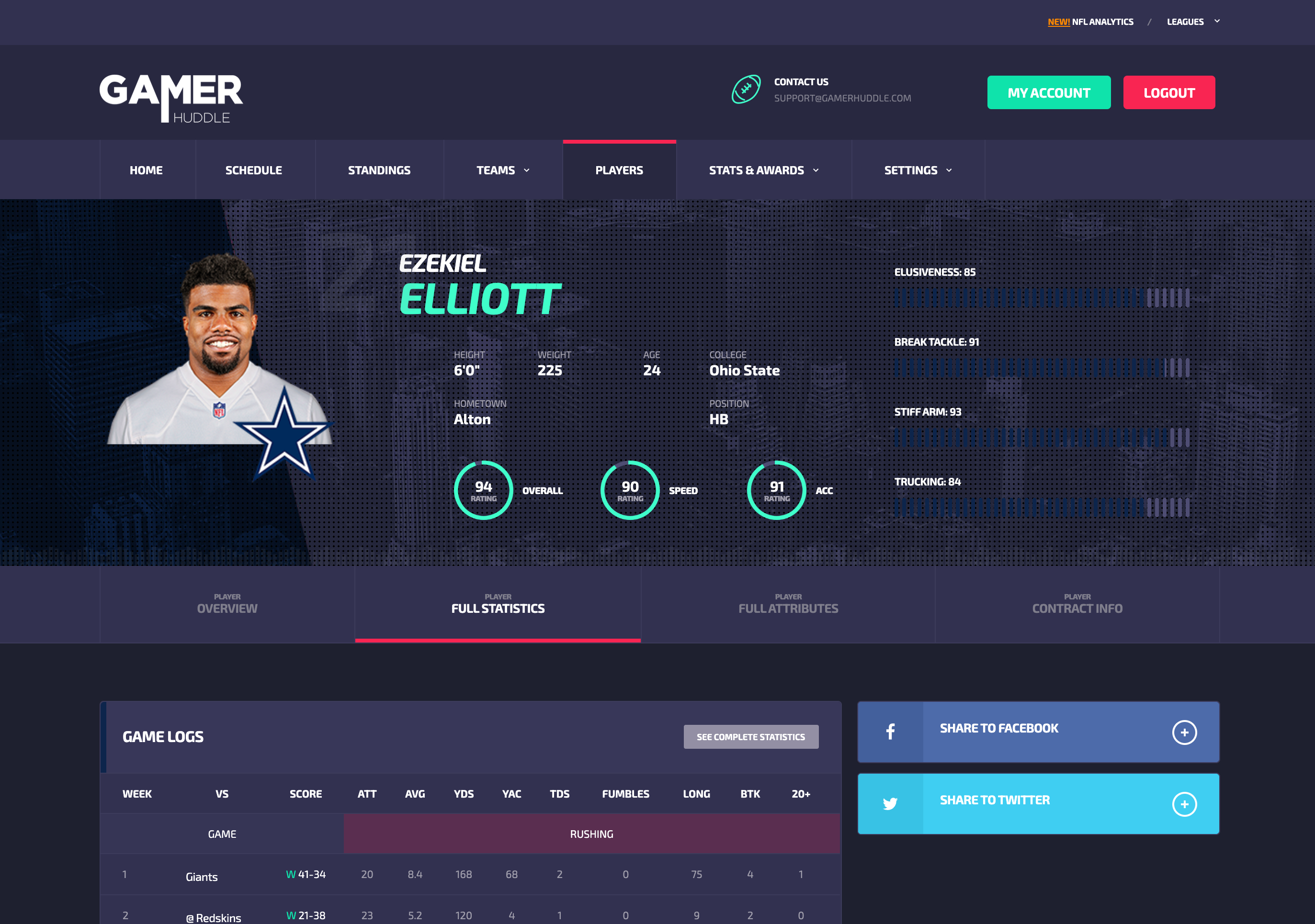 Image of a single player and his overview page in the GamerHuddle web platform.